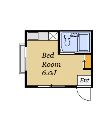 コンパクトながらユニットバス・室内洗濯機置き場もあります。、(間取)